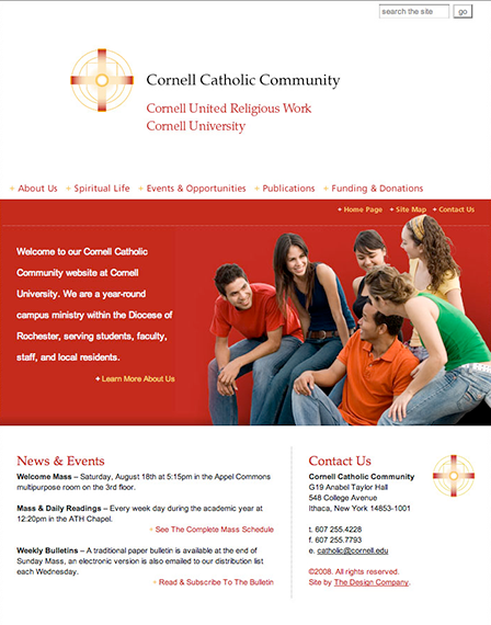 Case Study Image: Cornell Catholic Communities website interface