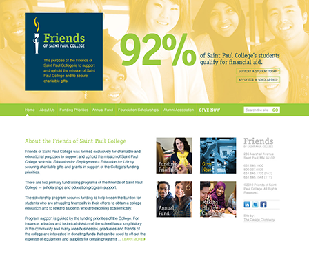 Case Study Image: Saint Paul College Friends website interface