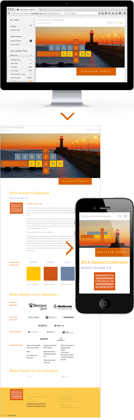 Case Study Image: Minnesota Council of Nonprofits (MCN) 2016 conference website interface