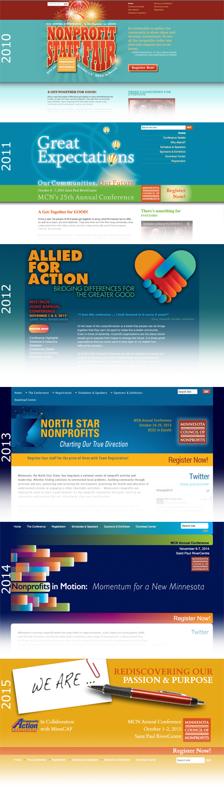 Case Study Image: Minnesota Council of Nonprofits (MCN) conference identities, 2010 to 2015
