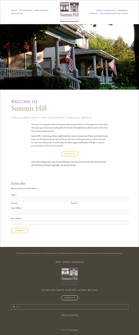 Case Study Image: Summit Hill Association website interface