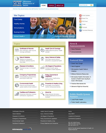 Case Study Image: Minnesota Department of Health website interface