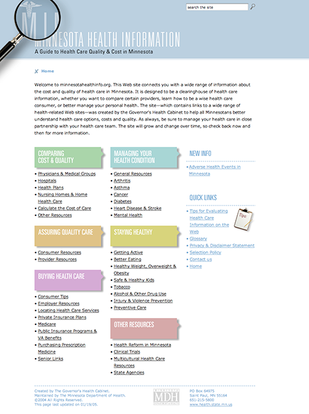Case Study Image: Minnesota Department of Health, Minnesota Health Information website interface