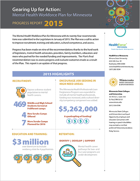 Case Study Image: HealthForce Minnesota Mental Health Workforce legislative report interior page