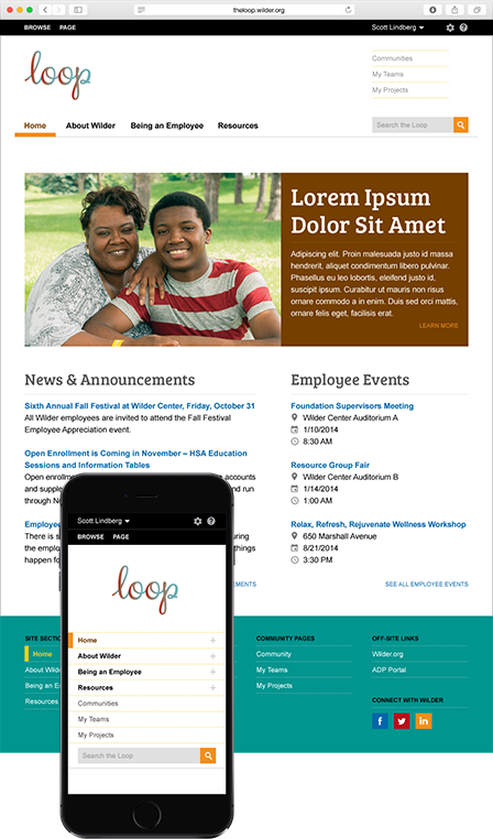 Case Study Image: Wilder Foundation The Loop home page interface