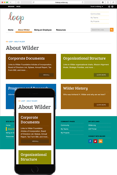 Case Study Image: Wilder Foundation The Loop landing page interface