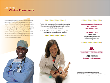 Case Study Image: University of Minnesota School of Nursing brochure spread