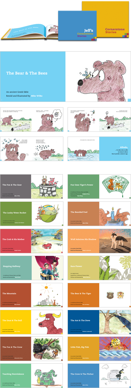 Case Study Image: Cornerstone Stories book covers and page designs