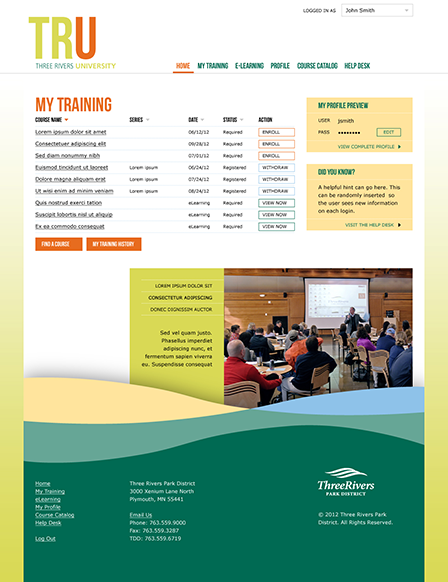 Case Study Image: Three Rivers University (TRU) website interface