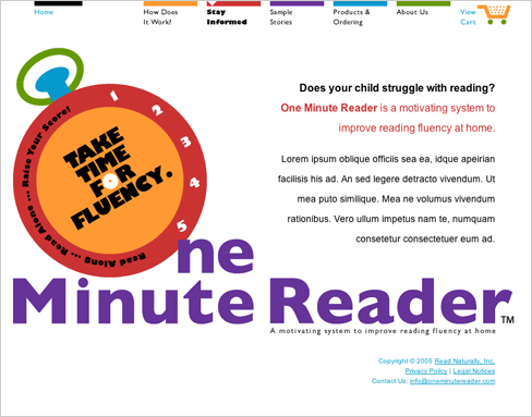 Case Study Image: Read Naturally, Inc. One Minute Reader website interface