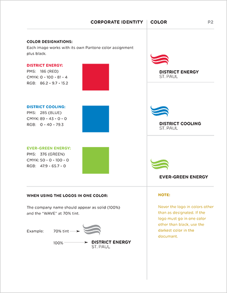 Case Study Image: District Energy St. Paul, Evergreen Energy, and District Cooling St. Paul identity guide