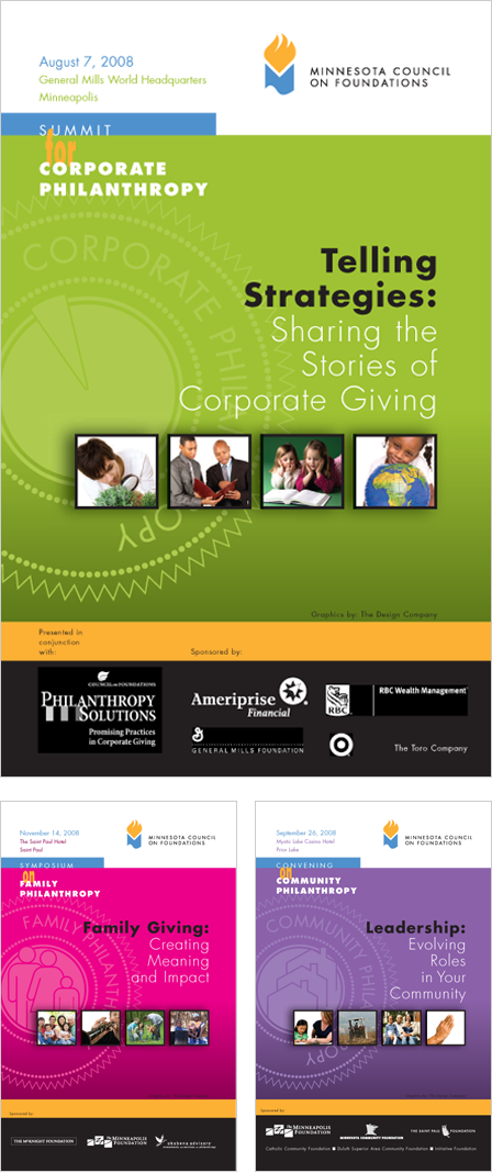 Case Study Image: Minnesota Council on Foundations (MCF) conference brochure covers