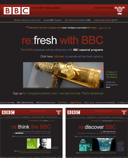 Case Study Image: Public Radio International and the BBC pURLs campaign website interface