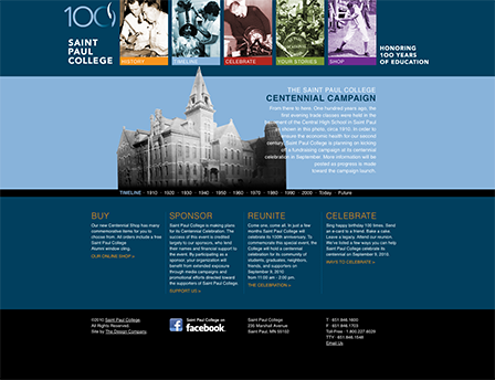 Case Study Image: Saint Paul College Centennial website interface
